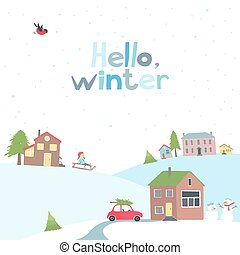 Card with a view of the snow-covered village - greeting card...