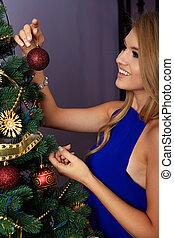 飾り付ける, 女, 木, クリスマス
