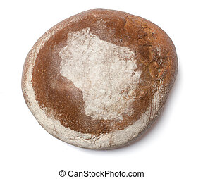 A loaf of fresh bread covered with rye flour in the shape of Wisconsin.(series)