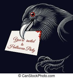 Halloween Raven - The raven with invitation card to...