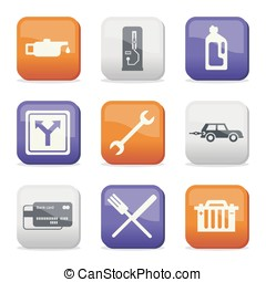 Fuel and transport colored icons - Silhouette fuel and...