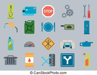 Fuel pump, gas station icons - Vector car service flat...