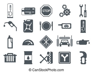 Fuel pump, gas station icons - Black vector car service flat...