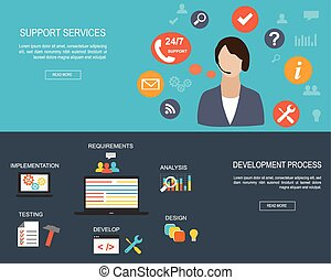 Flat designed banners for Support Services and for...