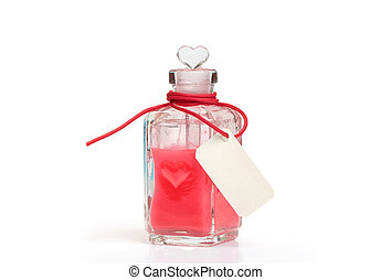 philtre Glass bottle with love potion Isolated on white