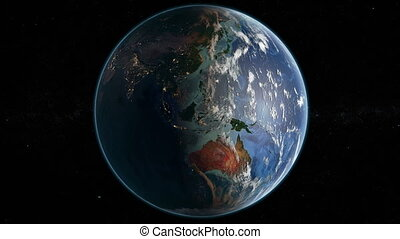 Rotating Earth- Day And Night - Slowly Rotating Earth 360...