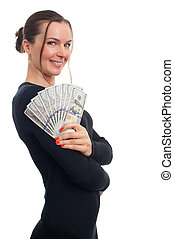 young business woman holding money isolated on white
