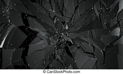 Pieces of broken and cracked glass on black Large resolution...