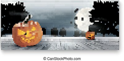 Holiday Halloween Banner with Pumpkins and Moon.