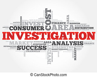Investigation word cloud, business concept