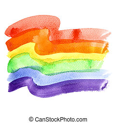Gay Pride Flag - Watercolor rainbow Gay Pride Flag isolated...