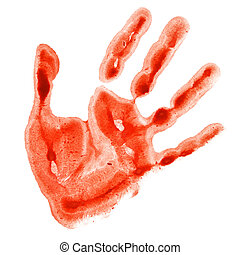 Red watercolor hand print isolated on white background,...