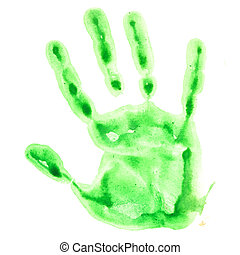 Green watercolor hand print isolated on white background,...