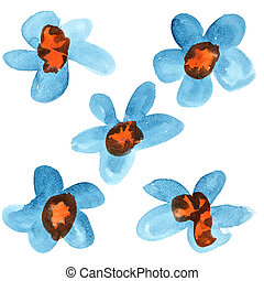 Blue - red watercolor flowers isolated over the white...