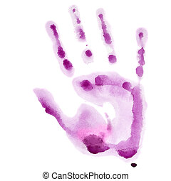 Pink watercolor hand print isolated on white background,...