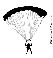 Silhouette skydiver parachutist isolated on white