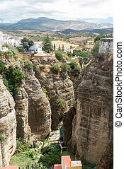 El Tajo Gorge, Ronda - The town of Ronda in Andalucia: the...
