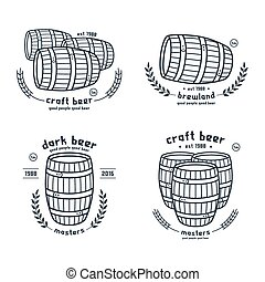 Barrel homebrew emblems in thin line style Black print on...