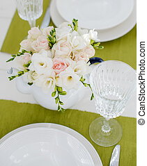 table decoration - Summer festive table setting with white...