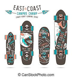Set of prints on longboard with the