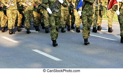 Soldiers marching - Military parade of the Croatian army on...