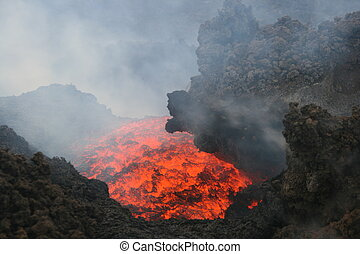 Lava at Mount Etna - Lava coming out of the mountain