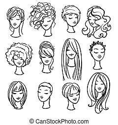 Set of ladys haircuts and styling isolated on white