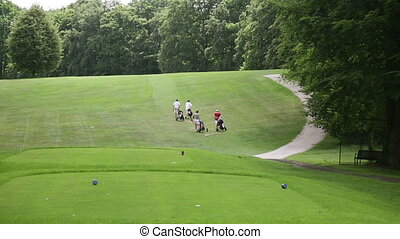 Golf player walking to the next hole at a golf course - Four...