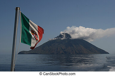 Stromboli Island - from the ship with italian flag