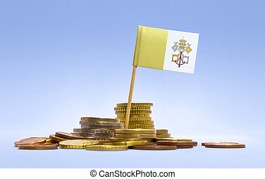 Flag of Vatican City in a stack of coinsseries - Flag of...