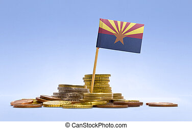 Flag of Arizona in a stack of coins.(series) - Flag of...