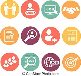 Vector job hunting,  search, human resources icons set