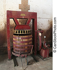 Wine press in a winery in Mendoza, Argentina