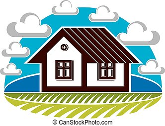 Simple house vector illustration, countryside idea. Abstract image of a building over beautiful landscape with blue sky and fluffy clouds. Real estate theme.