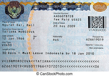 Visa - The visa to Bali, Indonesia