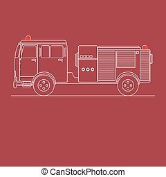 Fire Engine - Line art of a fire truck