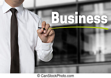 Business is written by businessman background concept.
