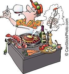 A grillmaster tasting vine - Vector cartoon illustration of...