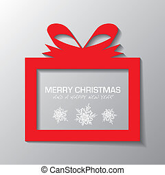 Simple present - Red illustrated present icon with holiday...