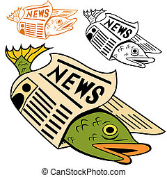 Fish Wrapped In Newspaper - Cartoon fish wrapped in...