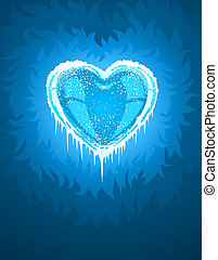 blue cold icy heart - illustration