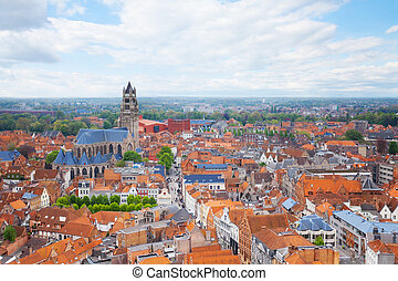 Cityscape with Cathedrale saint Sauveur in Bruges during...