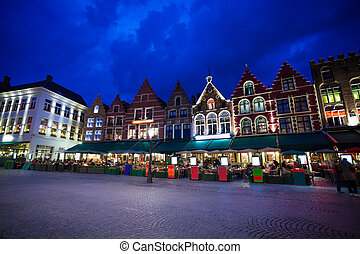 Grote Markt square with market at night in Bruges - Grote...