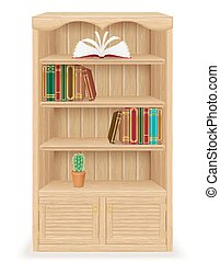 bookcase furniture made of wood vector illustration isolated...