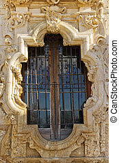 San Antonio missions - Exquisite window of Mission San Jose,...