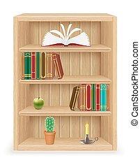 scaffale, Mobilia, fatto, di, legno, vettore, illustrazione, archivio ...