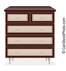 modern wooden furniture chest of drawers vector illustration