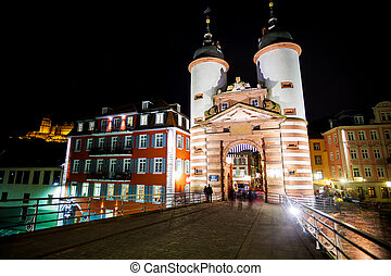 Gates and towers on Alte Brucke during night - Gates and...