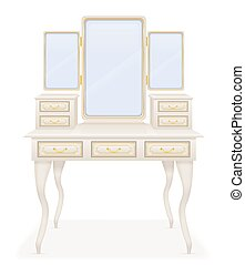 vanity table old retro furniture vector illustration vector...