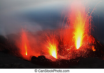 Stromboli from Pizzo - Eruption of several craters at...